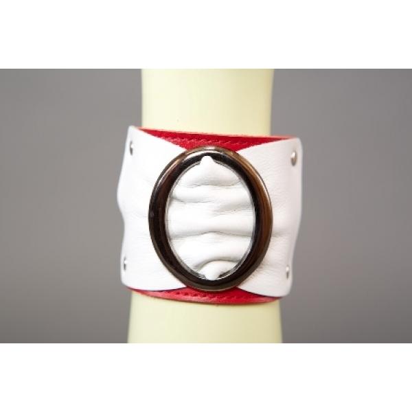 _Браслет красно-белый с овальной пряжкой шир. 6 см