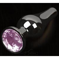 Графитовая металлическая анальная пробка с розовым стеклянным кристаллом-стразом