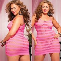 Платье увеличенного размера в полоску (белье)