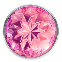 Большая серебристая анальная пробка Diamond Pink Sparkle Large с розовым кристаллом - 8 см. изображение № 2